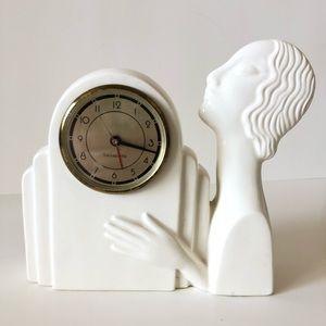 Vintage Art Deco Clock Sarsaparilla 80s White Bust